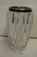 Lot. 1336. Vase En Cristal, Bord Argenté - Vidrio & Cristal