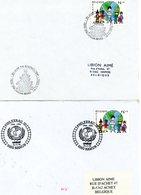 50 Ans De L'UNICEF : Sur Lettres Et Feuillet 3 Cachets DIFFERENTS De Prévente (voir Scan & Descr) - Postmark Collection