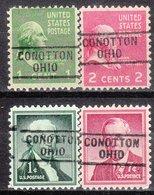 USA Precancel Vorausentwertung Preo, Locals Ohio, Conotton 729, 4 Diff. - Voorafgestempeld