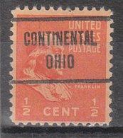 USA Precancel Vorausentwertung Preo, Locals Ohio, Continental 722 - Voorafgestempeld