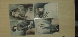 Serie De 8 Carte Illustrées(dessin) Toute A Dos Non Divisée - Postcards