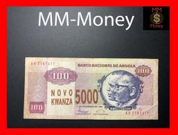 ANGOLA 5.000 5000  Novo Kwanza Overprint  1991 P. 125  RARE   VF - Angola