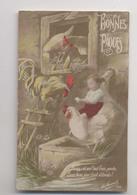 ENFANT ASSIS SUR UNE POULE - Bonnes Pâques - Surréalisme - Surrealism - Animali