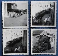 Lieu à Identifier 4 Photographies Fête En Bretagne Hôtel De France Jeune Fille En Bretonne Vélos Décorés Fleurs - Postcards