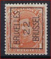 Koning Albert I Nr. 135 (type Niet Nagezien) België Typografische Voorafstempeling Nr. 55 A BRUXELLES 22 BRUSSEL ! - Préoblitérés