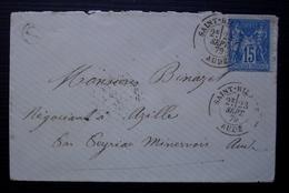 Saint Hilaire 1879 (Aude) Boîte Rurale D Lettre Pour Azille - Postmark Collection (Covers)
