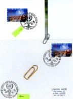 Casques Bleus ONU - Sur Lettres Et Feuillet 3 Cachets DIFFERENTS De Prévente (voir Scan & Descr) - Postmark Collection