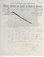 51 - Marne - REIMS - Facture MARCHE CENTRAL DES LAINES DE REIMS ET ROUBAIX - 1913 - REF 287 - France