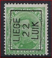 Koning Albert I Nr. 137 (type Niet Nagezien) België Typografische Voorafstempeling Nr. 61 A  LIEGE  22  LUIK  ! - Préoblitérés