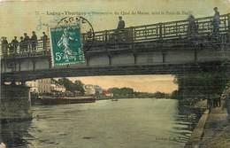 LAGNY-THORIGNY - Perspective Du Quai De La Marne,sous Le Pont De Fer (carte Aspect Toilé). - Lagny Sur Marne