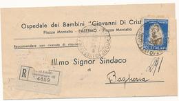 1950 TABACCO 55 LIRE SINGOLO ISOLATO SU RACCOMANDATA - 6. 1946-.. Repubblica