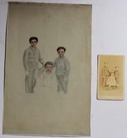 Dessin De 3 Enfants + CDV Photographie A. Bernier Brest 1 Rue Kléber Charles François Joseph BERTRAND Lesneven - Tekeningen