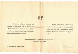 Faire Part Mariage Senemaud Denise Guillemin Albert Pasty Asnieres Seine 1942 St Sebastien Creuse Pharmacien Denise - Mariage