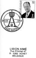 2698 (Albert II à Lunettes 18F) Sur Lettre Avec Cachet De Prévente (voir Scan & Descr) - Postmark Collection