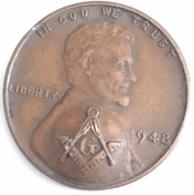 One Cent Franc Maçon (Masonic) USA 1948 - Etats-Unis