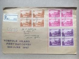 NORFOLK ISLAND 1947 Definitves FDC Registered Sent To South Africa - Brisbane And Sydney Transit Marks - Isola Norfolk