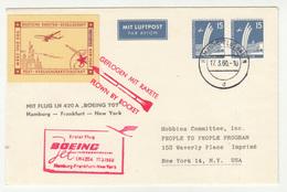First Flight Boeing Jet Hamburg-Frankfurt-New York, Germany Postal Stationery Rocket Mail Posted 1960 B200601 - Astrología