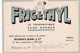 "06-Carte Publicitaire  G.Kolh & Cie.. "" Frigethyl "" ..Nice - Frankreich"