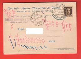 Ponte Di Piave Consorzio Di Treviso Commerciale Viaggiata 1942 Per Noale Venezia - Negozi