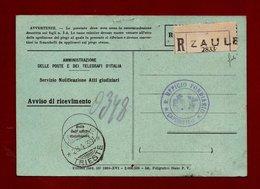 ZAULE * TRIESTE * 28/4/39 Annullo+ Etichetta RACC.  SU R.R. ATTI GIUDIZIARI  PER CAPODISTRIA - Trieste