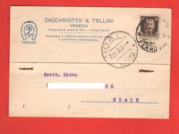 Venezia Ditta Zaccariotto & Tellini Cartolina Commerciale Viaggiata 1939 Per Noale Venezia - Negozi