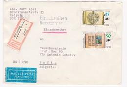 Germany – DDR /Bulgarien Einschreiben 1990 Mit R-Zetteln Aus 7047- Leipzig - Briefe U. Dokumente