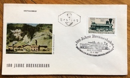 LOCOMOTIVA FERROVIA - AUSTRIA - 100 JAHRE BRENNERBAHN -  FRANCOBOLLO ED ANNULLOSPECIALE - Treni