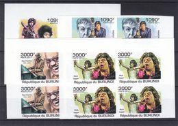 Musique - Ray Charles-Mick Jagger-Hendrix-Mac Cartney  - Burundi - COB 1454/7 ** - Bloc De 4 - NON Dentelé -valeur 144 € - Music