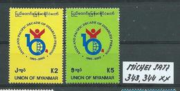 MYANMAR MICHEL SATZ 343,344 Postfrisch Siehe Scan - Myanmar (Burma 1948-...)
