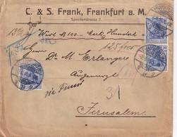 ALLEMAGNE 1910 LETTRE EN VALEUR DECLAREE DE FRANKFURT POUR JERUSALEM - Allemagne