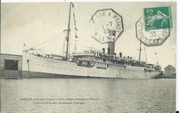 CACHET DE PAQUEBOT  - BORDEAUX  A MATADI L.L.N°1 Sur Carte Postale Paquebot AFRIQUE - Postmark Collection (Covers)