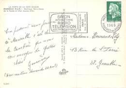 Flamme - Salon International Radio Télévision, Paris, 1969 - Carte Postale Marseille Notre-Dame De La Garde & Char - Postmark Collection (Covers)