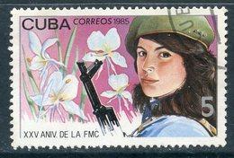 Y85 CUBA 1985 2960 25th Anniversary Of The Federation Of Cuban Women. Woman With A Gun. Flora. Flowers - Gebruikt