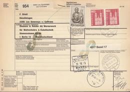 SCHWEIZ Paketkarte Mit 708, 740 MiF, Les Geneveys-sur-Coffrane Nach Berlin, Versch. Zollamtsstempel 1973 - Brieven En Documenten