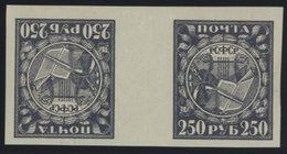 RUSSLAND 158xKz **, 1921, 250 R. Dkl`grauviolett, Normales Papier, Im Waagerechten Kehrdruckpaar Mit Zwischensteg, Postf - Russia & USSR