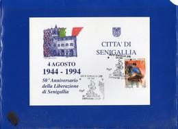 ##(DAN205)-1994 Senigallia-50°anniversario Liberazione,annullo Speciale Su Cartolina Commemorativa-tema Resistenza - 6. 1946-.. Repubblica