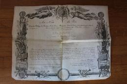 Diplôme Médaille Du LYS  LOUIS XVIII  1814  Peu Courant  Premier Modèle Sur Vélin - Documentos Históricos