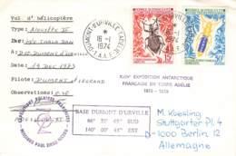 Let 010 - T.A.A.F. - Terre Adélie - Dumont D'Urville  1974 - Lettres & Documents