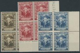 RUANDA-URUNDI 62-64  VB **, 1936, Königin Astrid In Postfrischen Viererblocks, Pracht - Ruanda-Urundi