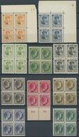 LUXEMBURG 197-206  VB **, 1927/8, Großherzogin Charlotte Mit Aufdrucken, In Postfrischen Viererblocks, Pracht, Mi. 100.- - Luxemburgo