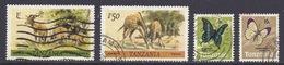 Tanzania - Fauna, Wild Life, Giraffa Camelopardalis, Giraffe, Impala, Butterflies, Papillons - Used - Tanzanie (1964-...)