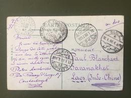 CP Avec Différentes Oblitérations: Constantinople-Alexandrie-Suez-Ismailia-Saigon-1908 - Ägypten