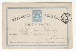 First Spanish Republic Postal Stationery Postcard Tarjeta Postal Posted Reus (Tarragona) Pmk B200601 - 1873 1. Republik