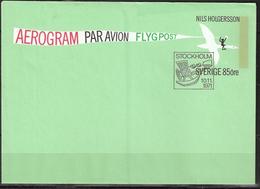 Sweden 1971 Aerogram / Par Avion / Flypost Cover, Nils Holgersson Imprinted Stamp 85 øre, Cancellation Plane FDC - Cartas