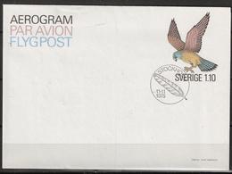 Sweden 1975 Aerogram / Par Avion / Flypost Cover, Imprinted Eagle Stamp  Kr 1.10, Cancellation Feather FDC - Cartas