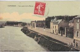 51 CUMIERES Les Quais De La Marne ,enfants En Bordures ,carte Colorisée Toilée - France