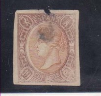 Año 1865 Edifil 71 19c Sello Isabel II  Matasellos Cifra 2 Barcelona - Usati