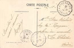 PIE-20-FD-668 : CACHET AMBULANT GUERET A  AIGURANDE. CREUSE ET INDRE. 1 OCTOBRE 1913. CARTE POSTALE AU PAYS CREUSOIS - Postmark Collection (Covers)