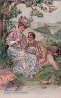 Couple, Flirt, J'attends En Frémissant, Litho Gaufrée (7810) - Couples