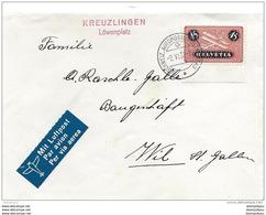 """76 - 54 -  Enveloppe Avec Timbre Aviation Et Oblit Spéciale """"Kreuzlingen Löwenplatz 1937"""" - Marcophilie"""